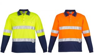 Hi Vis Spliced Polo Long Sleeve Hoop Taped