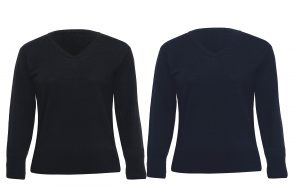 Ladies Merino Detailed V-Neck Pullover