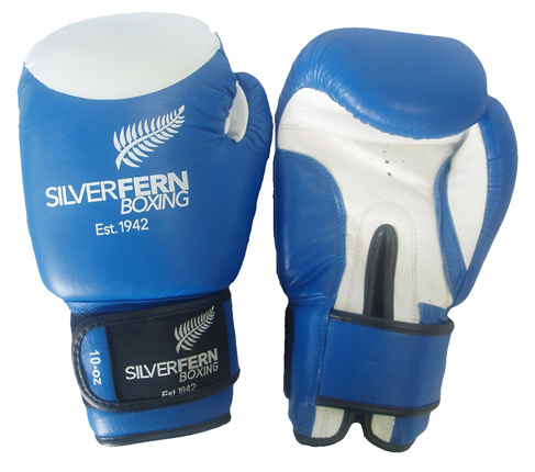 SILVER FERN LEATHER FIGHT GLOVES-Blue/White