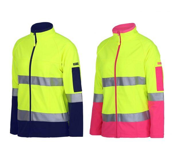 Ladies-Hi-Vis-(D+N)-Softshell-Jacket-with-3M-Tape-LIME-NAVY