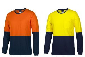 HI VIS L/S CREW NECK COTTON T-SHIRT